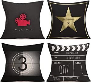 Asamour Movie Theater Cinema Personalized Throw Pillow Covers Cotton Linen Vintage Black Film-making Style Movie Projector Clapper Board Printed Home Decor Cushion Cover Pillow Case Set of 4,18''x18''