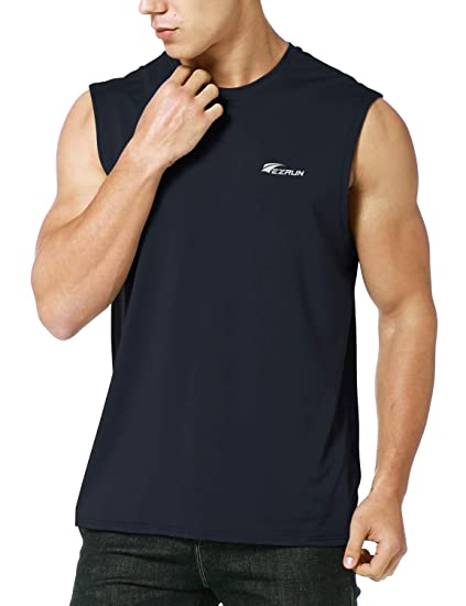 c6573f20d8d0c Amazon.com  EZRUN Men s Performance Quick-Dry Sleeveless Shirt Workout  Muscle Bodybuilding Tank Top  Clothing
