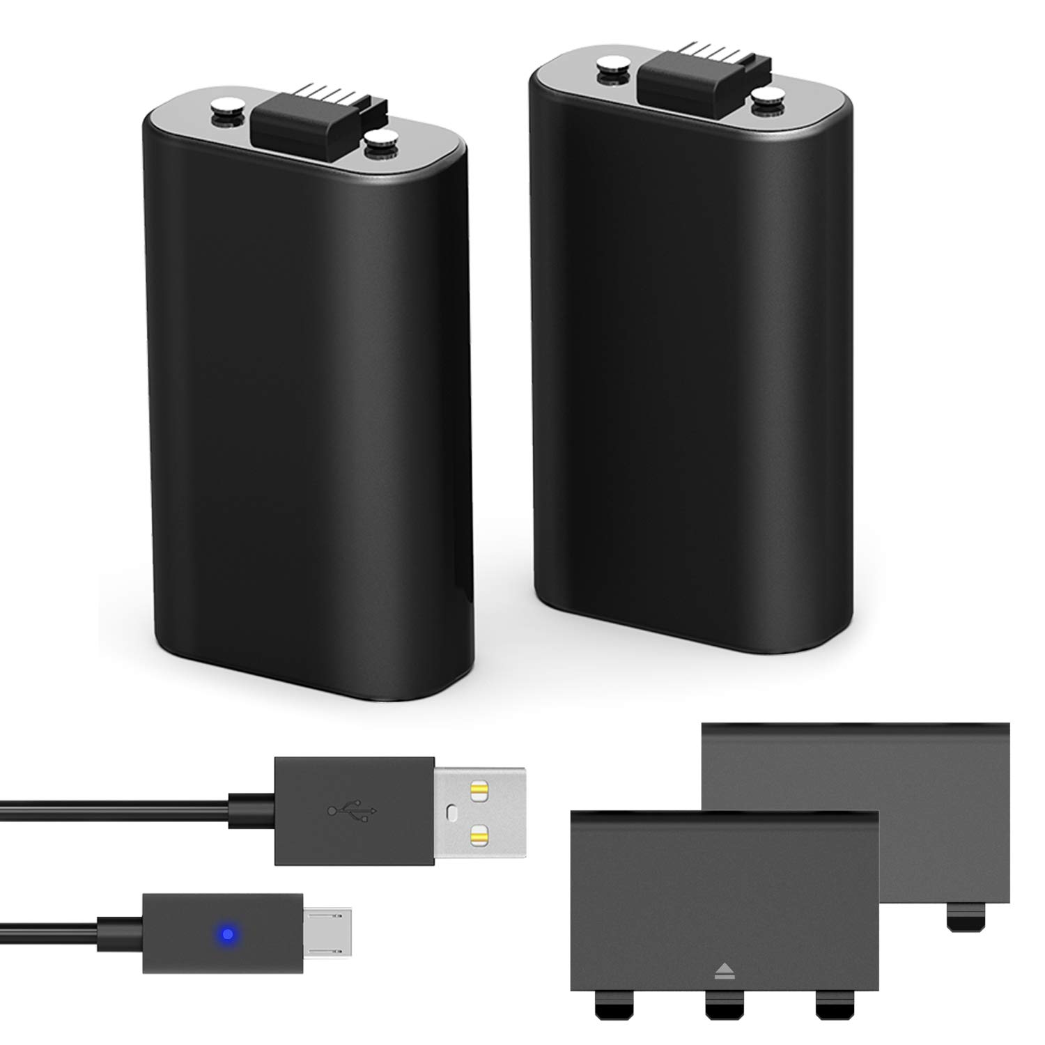 Xbox One Controller Battery Pack,Xbox One S Play and Charge Kit,Xbox One X 1200mAh Rechargeable Battery Twin Pack with Micro USB Charging Cable for Xbox One / Xbox One S / Xbox One X Controllers