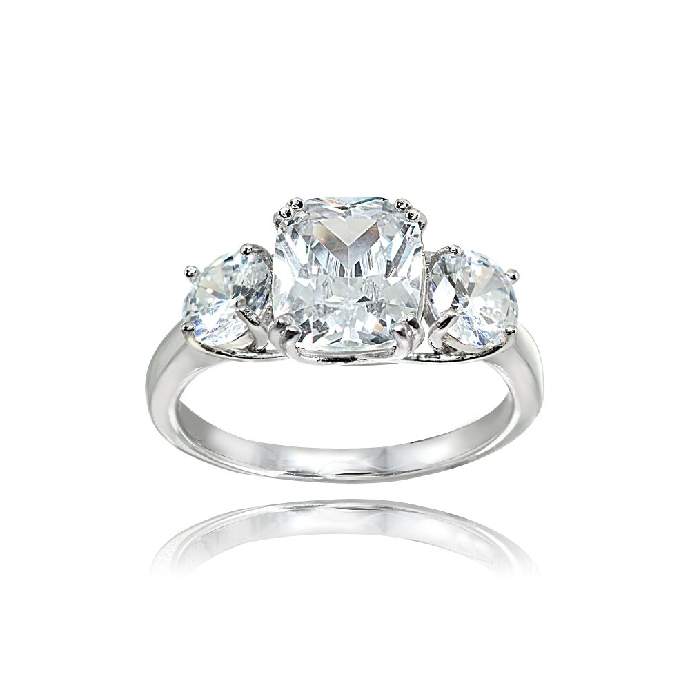 Sterling Silver Cubic Zirconia Cushion Cut 3-Stone Royal Engagement Wedding Ring, Size 6