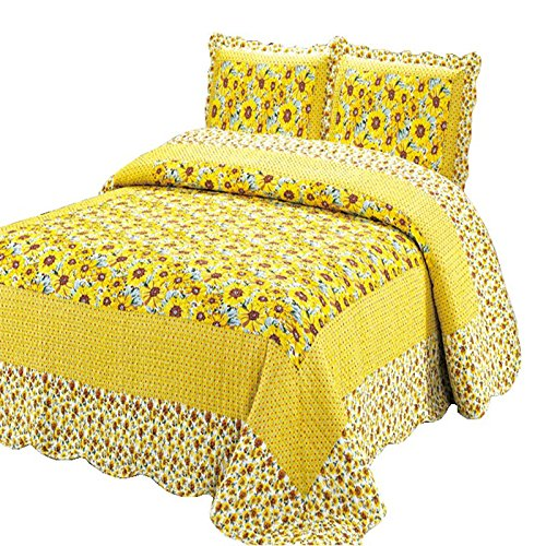 100% Cotton 3-Piece Polka Dot Sunflower Patchwork Bedspreads Quilt Sets Queen