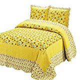 Best Comforbed Comforter Sets - 100% Cotton 3-Piece Polka Dot Sunflower Patchwork Bedspreads Review