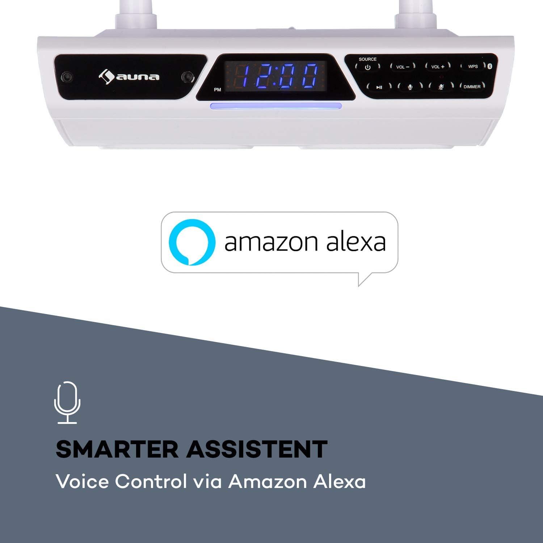 auna Intelligence K/üchenradio mit Alexa Voice Control WLAN K/üchen-Unterbau Sprachsteuerung Dank integriertem Mikrofon Multiroom-f/ähig Montagematerial Multiroom-f/ähig Grausilber Bluetooth