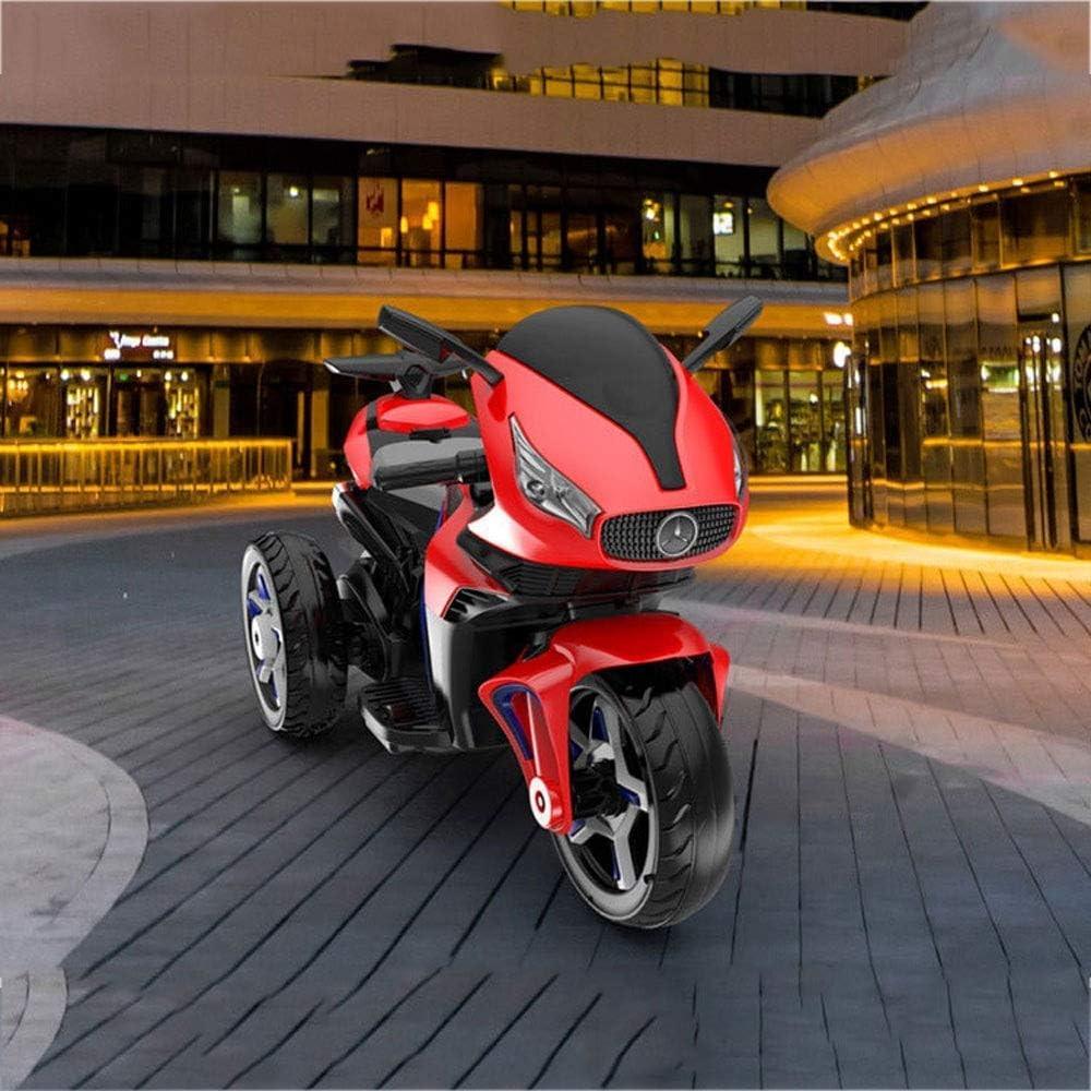 Rueda auxiliar niño motocicleta eléctrica de juguete paseo en el coche triciclo 1-3-6 años del paseo en vehículos Niño del asiento de carga grande del juguete del coche del niño puede sentarse (Color: