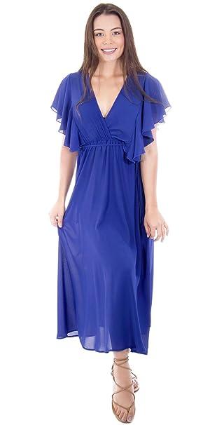 50%0ff Women's Ruffled Sheeves V-Neck Chiffon Beach Maxi Dress Plus Size Evening Dress