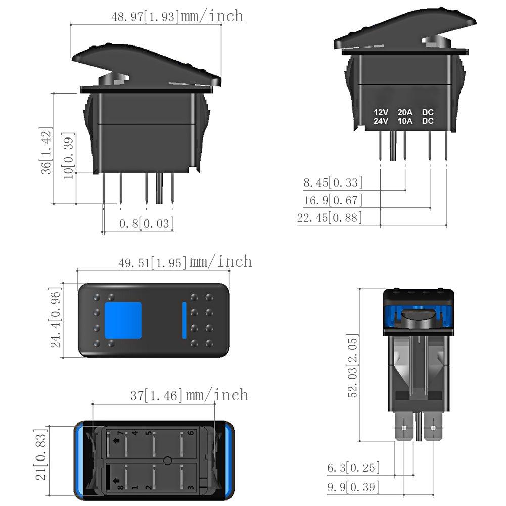 Waterwich 5 Pin Rear Lights Illuminated Rocker Toggle Switch Wiring Led Light On Off Spst Waterproof Dc 20a 12v 10a