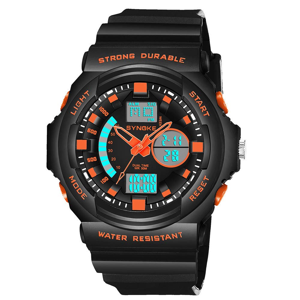 Double Digital Watches for Men DYTA LED Sport Wrist Watches 5ATM Water Resistant Outdoor Watch on Sale on Clearance Military Quartz Watchs with Rubber ...
