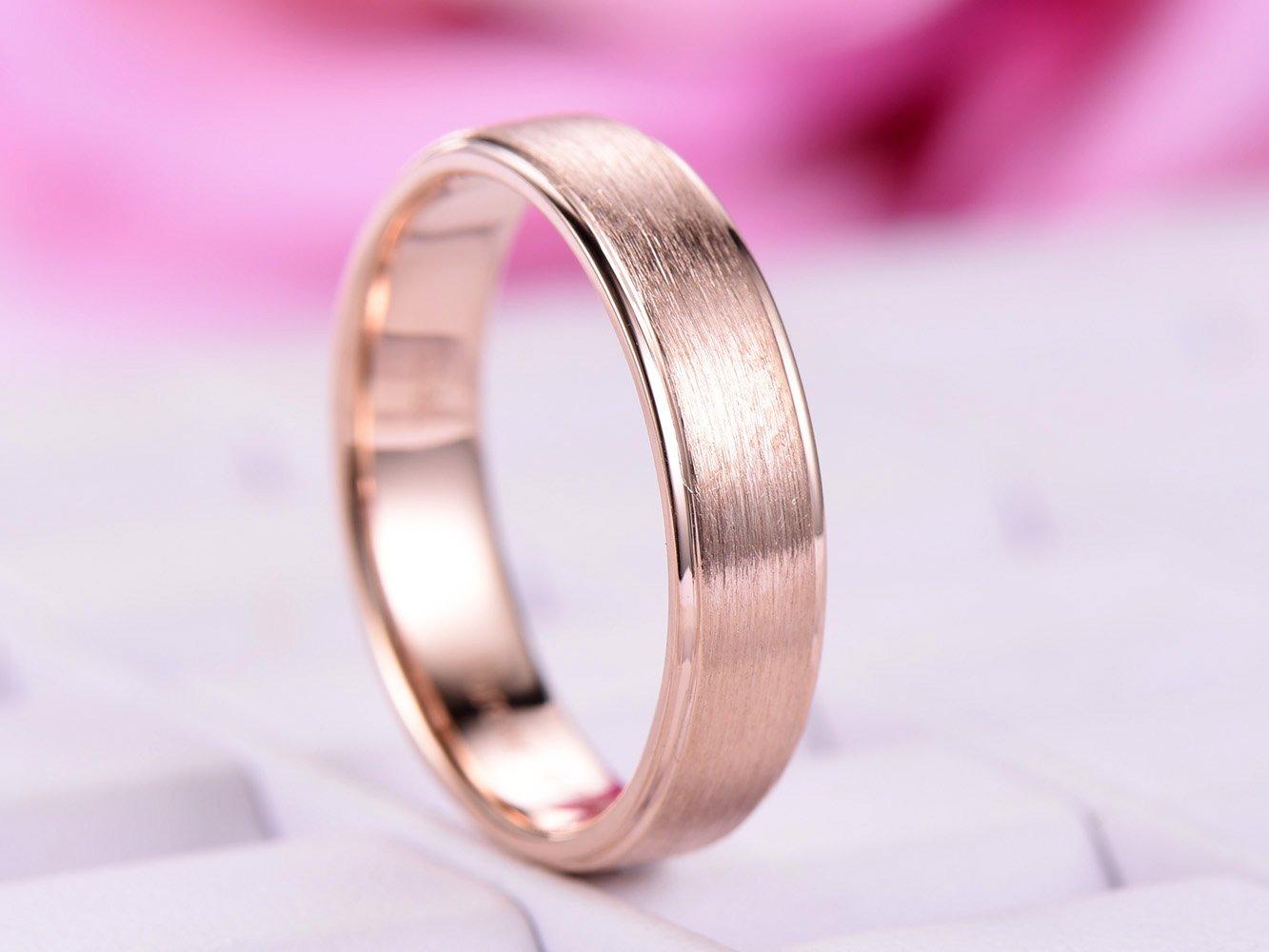Amazon.com: Men\'s Wedding Ring Plain 14K Rose Gold, Satin Finish ...
