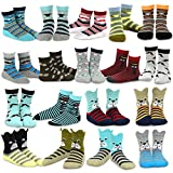 TeeHee Kids Boys Fashion Cotton Crew 18 Pair Pack Gift Box (6-8Y, Dog and Gentle)