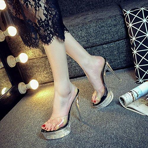14cm 883 Avec Transparent En Zhudj Super De Plate forme Remorquage Black Chaussures Talon Crystal 3 Chaussons Imperméable Montage Fine Été tUwtWx6qS