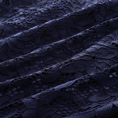 Les Femmes Chicwe De Taille Plus Extensible Pour Robe De Dentelle Avec Ourlet Festonné Et Brassard - Longueur Genou Robe De Cocktail Bleu Fête Décontractée