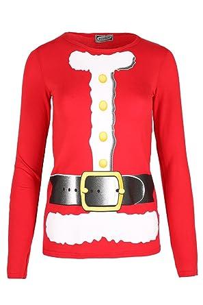 be jealous womens santa costume belt printed long sleeves christmas t shirt sm