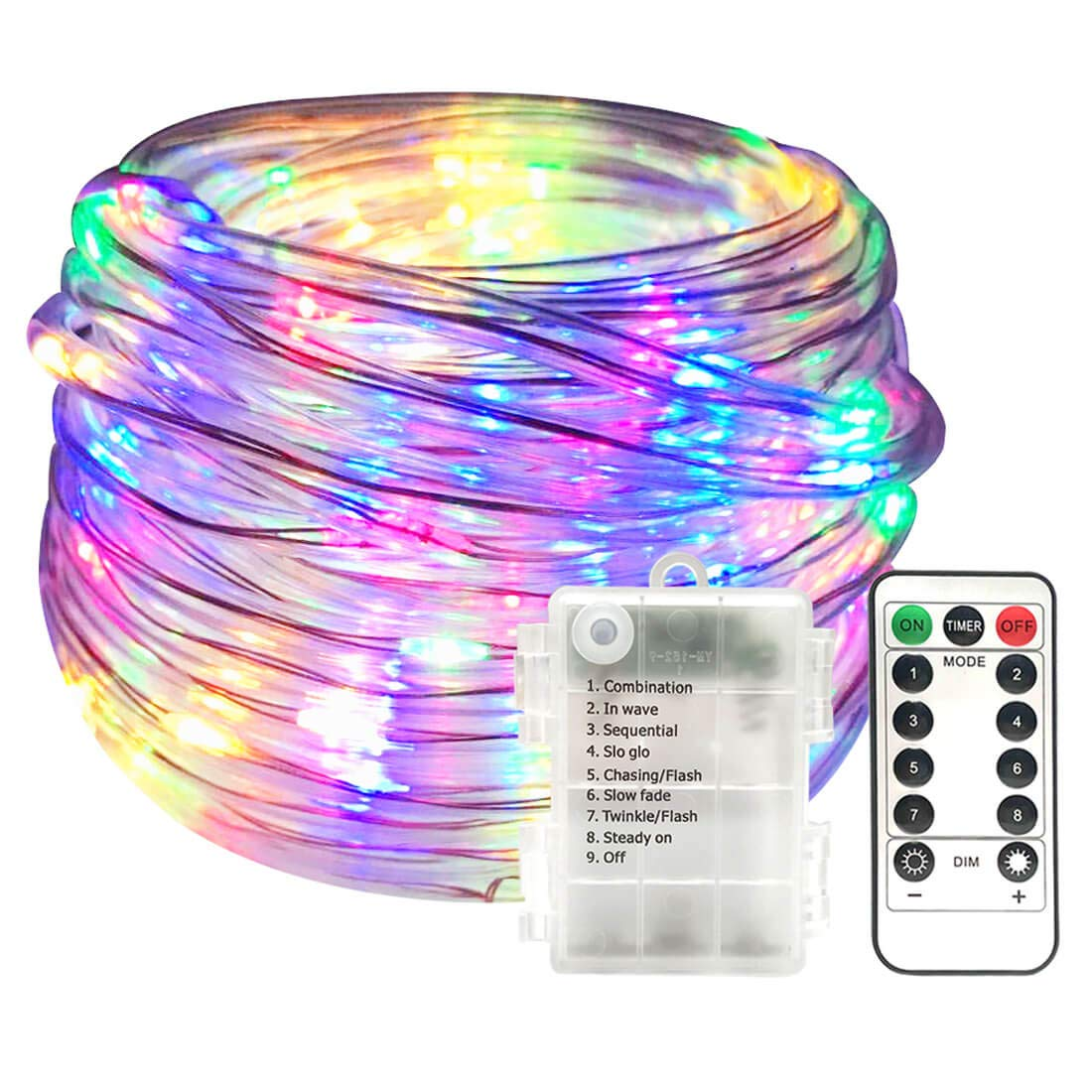 Semilits Fairy String Lights 100LED 33Feet Battery Operated LED Rope Lights with Remote Indoor Timer Fairy Lights for Patio Easter Wedding Party Multi Color