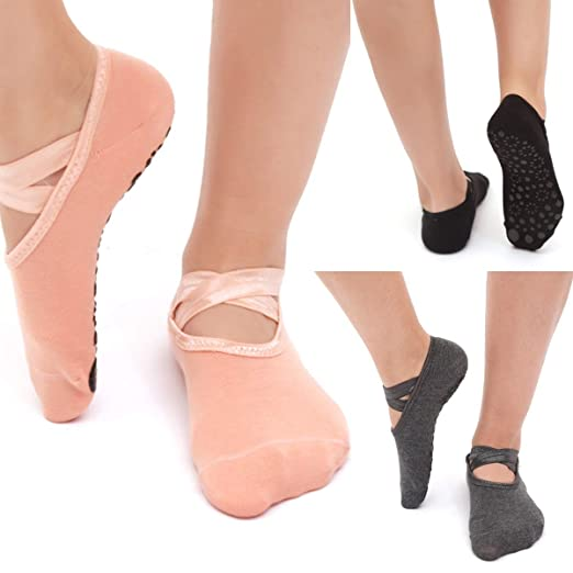 Leyeet 1 Par / 3 Pares Mujer Calcetines de Yoga Antideslizante Gimnasio Fitness Pilates Ballet Danza Deportes Calcetines Antideslizantes