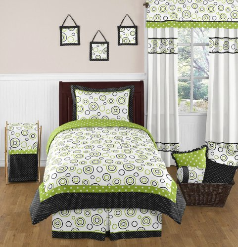 Spirodot Lime and Black Childrens and Kids Bedding Set 4 Piece Boy or Girl Twin Set (Lime Green Polka Dot Curtains)