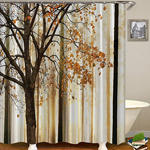 QCWN Fall Trees Fallen Leaves Landscape Shower Curtain Abstract Decorations Theme Art Print Bathroom Decor Polyester Fabric Hooks (2, 65