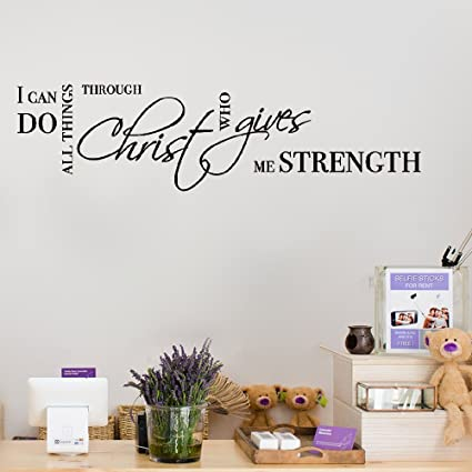Kiurgy Wall Stickers Art Decor Decals I Can Do All Things Through Christ Who Gives Me
