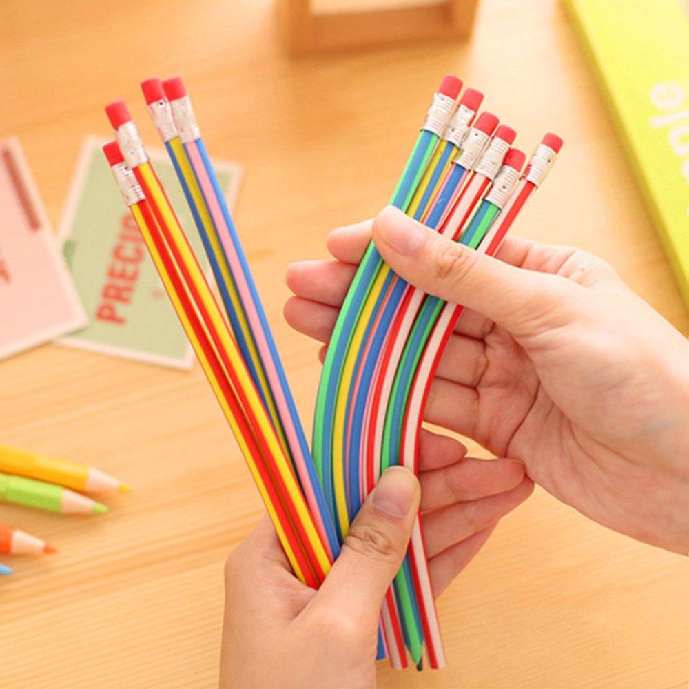 estudiante oficina 5 l/ápices de colores a rayas color al azar l/ápices m/ágicos doblados con goma de borrar creativos para la escuela CTGVH