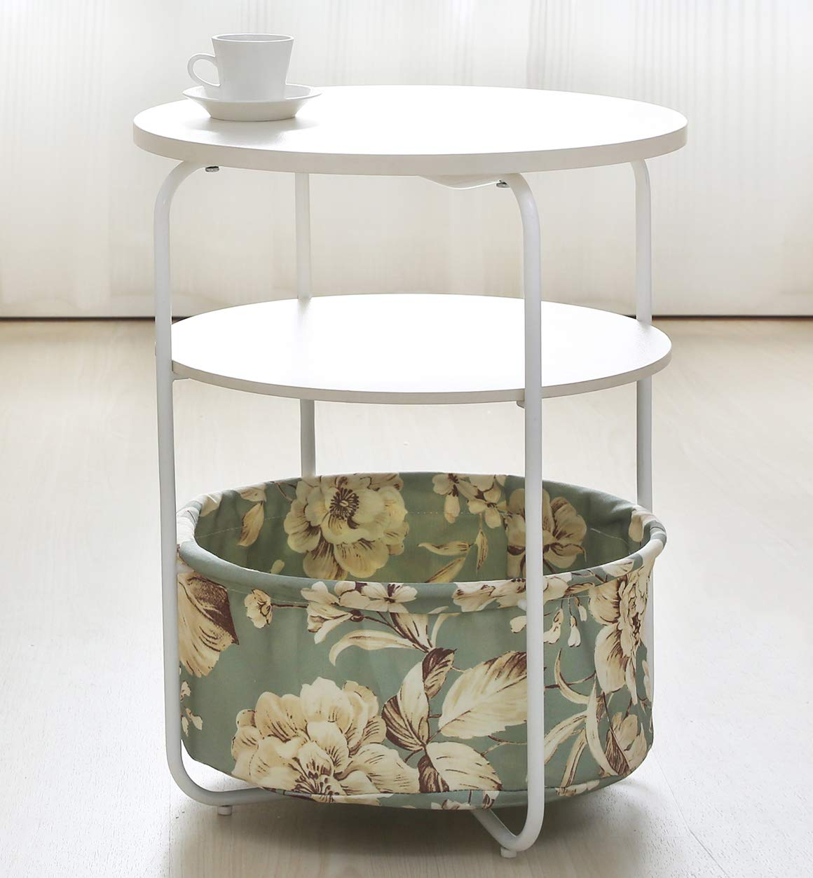 Salafey Round End Tables Bedside Table,3-Tier Sofa Side Table with Cloth Storage Basket Accent Table for Living Room,Bedroom Balcony Home and Office