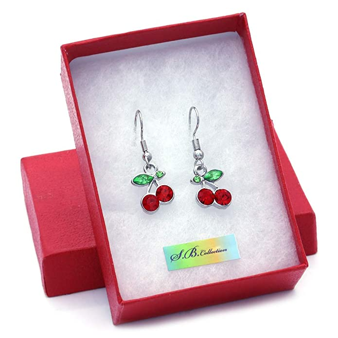 3656924bb0e9d SoulBreeze Green Leaf Red Fruit Cherry Dangle Earrings Red Green  Rhinestones Fashion Jewelry