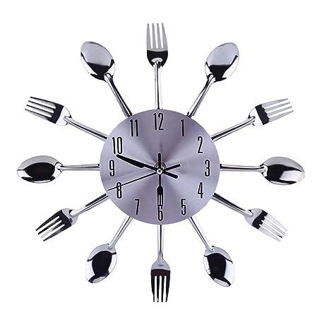 13 pulgadas Cocina de acero inoxidable cuchillería Utensilio reloj de pared cuchara horquilla reloj interior para
