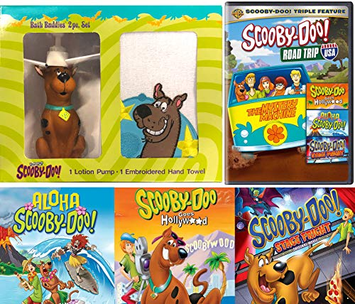 Bathtime Scooby-Doo Road Trip Cartoon DVD pack & Aloha Scooby / Goes Hollywood / Stage Fright Mystery Solving Gang + Bath Buddy Character & Wash Towel Movie -