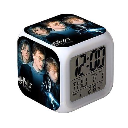QIANXIAN Relojes despertadores Harry Potter,Retroiluminación Colorido Digital Relojes despertadores,atenuador despertadore de luz