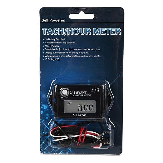 SEARON Tach Medidor de horas de mantenimiento Tacómetro para ...
