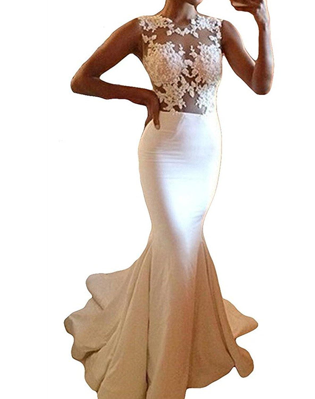 Udresses Womens Illusion Lace Sheer Mermaid Wedding Dress For Bride