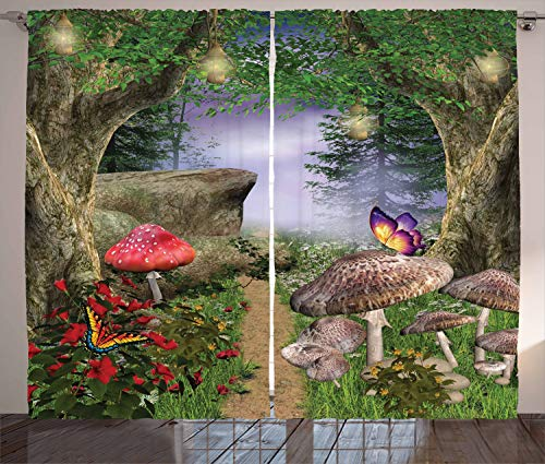Ambesonne Mushroom Curtains, Enchanted Nature Pathway with Butterflies Fairytale Landscape Rocks, Living Room Bedroom Window Drapes 2 Panel Set, 108 W X 84 L Inches, Green Red ()