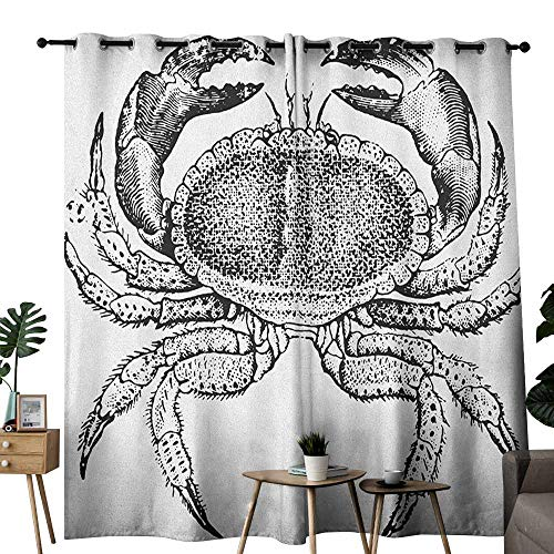 duommhome Crabs Polyester Curtain Seafood Themed Design Vintage Engraved Illustration of an Edible Crab Print Noise Reducing W96 x L84 Black and White - Engraved Nfl Money Clip