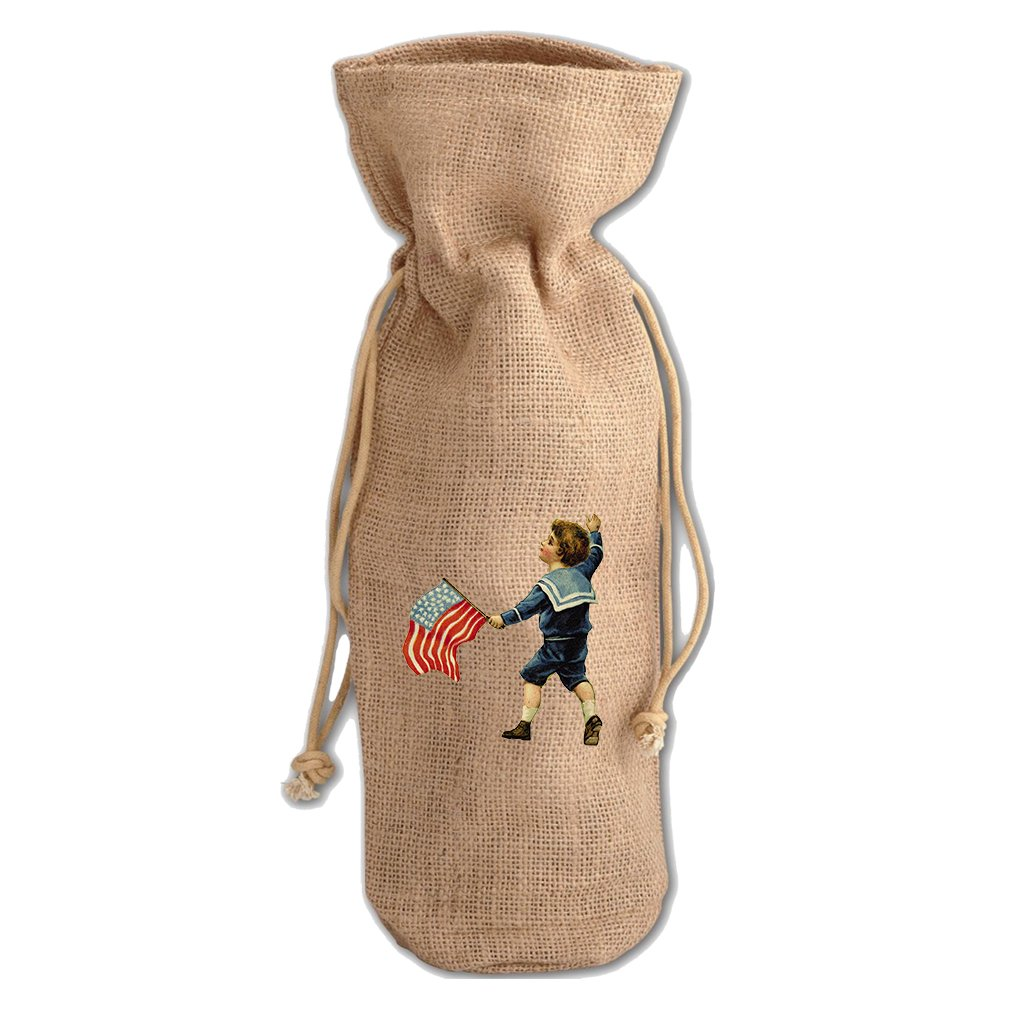 Burlap Wine Drawstring Bag Little Boy Holding America Flag Holidays