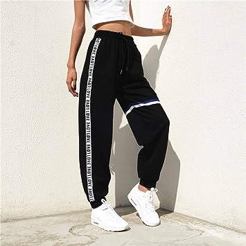 CKBYTH Pantalones Pantalones Harem Mujer Jogger Algodón Elástico Casual Cintura Alta Raya Lateral Pantalones Negros Mujer Cordón Loose TRO: Amazon.es: Deportes y aire libre