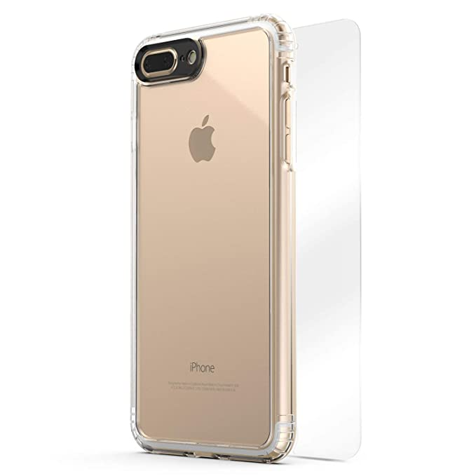 promo code 15616 1e24c iPhone 8 Plus & 7 Plus Case, SaharaCase Clear Protective Kit Bundled with  [ZeroDamage Tempered Glass Screen Protector] Rugged Slim Fit Shockproof ...