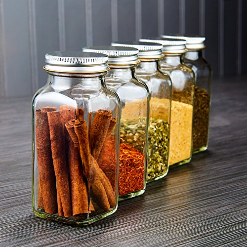 Deluxe Large Spice Jar Set 12 Square Glass 6 Oz Spice