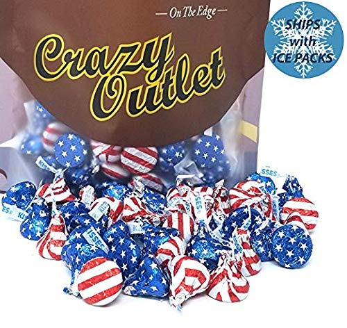 CrazyOutlet Pack - Hershey's Kisses Milk Chocolate Patriotic Candy, USA Flag Colors Wrap, July 4th Bulk Candy, 1Lb Bag -