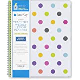 "Blue Sky 2017-2018 Academic Year Teachers Weekly Lesson Planner, Twin-Wire Bound, 8.5"" x 11"", Dots Cover"