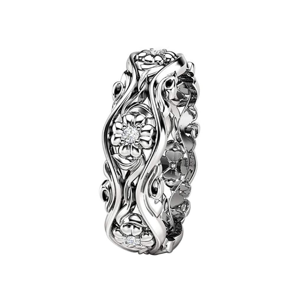 Booboda JJZ403 Women's Creative Sunflower Ring, Gold Plated Ring, Diamond Ring, Eternal Ring, How to Choose(Silver9#)