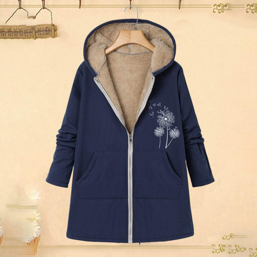 Vibola Plus Size Outwear Womens Winter Warm Thick Plush Lined Coat Jacket Floral Print Hooded Vintage Long Overcoat