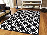 Luxury Modern Rugs for Living Rooms Large 8×11 Area Rugs on Clearance under 100 Black & White Contemporary Rugs 8×10 Black Morrocan Trellis Area Rugs , 8×11