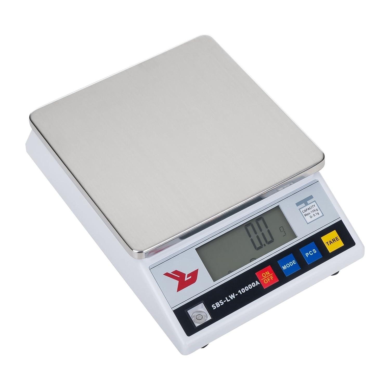 Steinberg Systems Bilancia di Precisione Bilancia Digitale Elettronica SBS-LW-10000A (10.000 g / 0,1 g, Piatto di pesatura 18 x 18 cm, 26 x 18 x 8 cm, Tempo di riscaldamento 3 min, LCD)