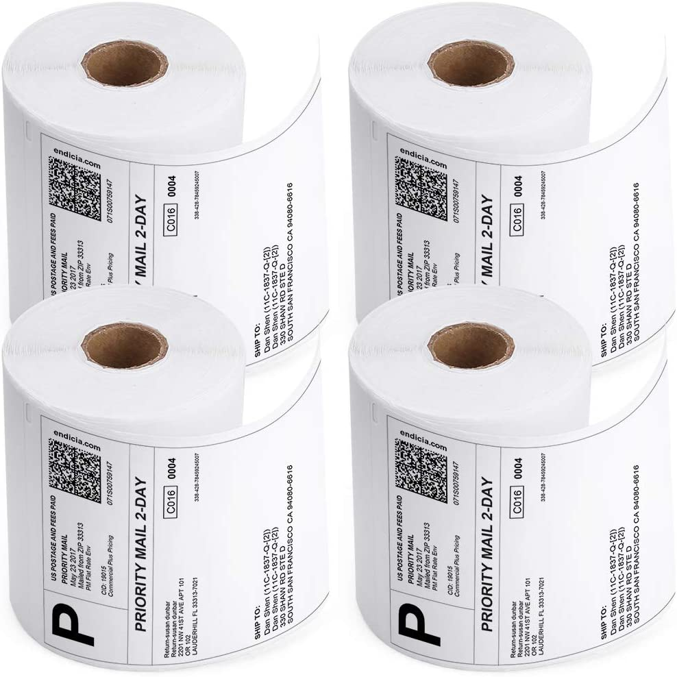 """Zebra Compatible Direct Thermal Print Shipping Address Labels 4/""""x6.5/"""", 2 Rolls"""
