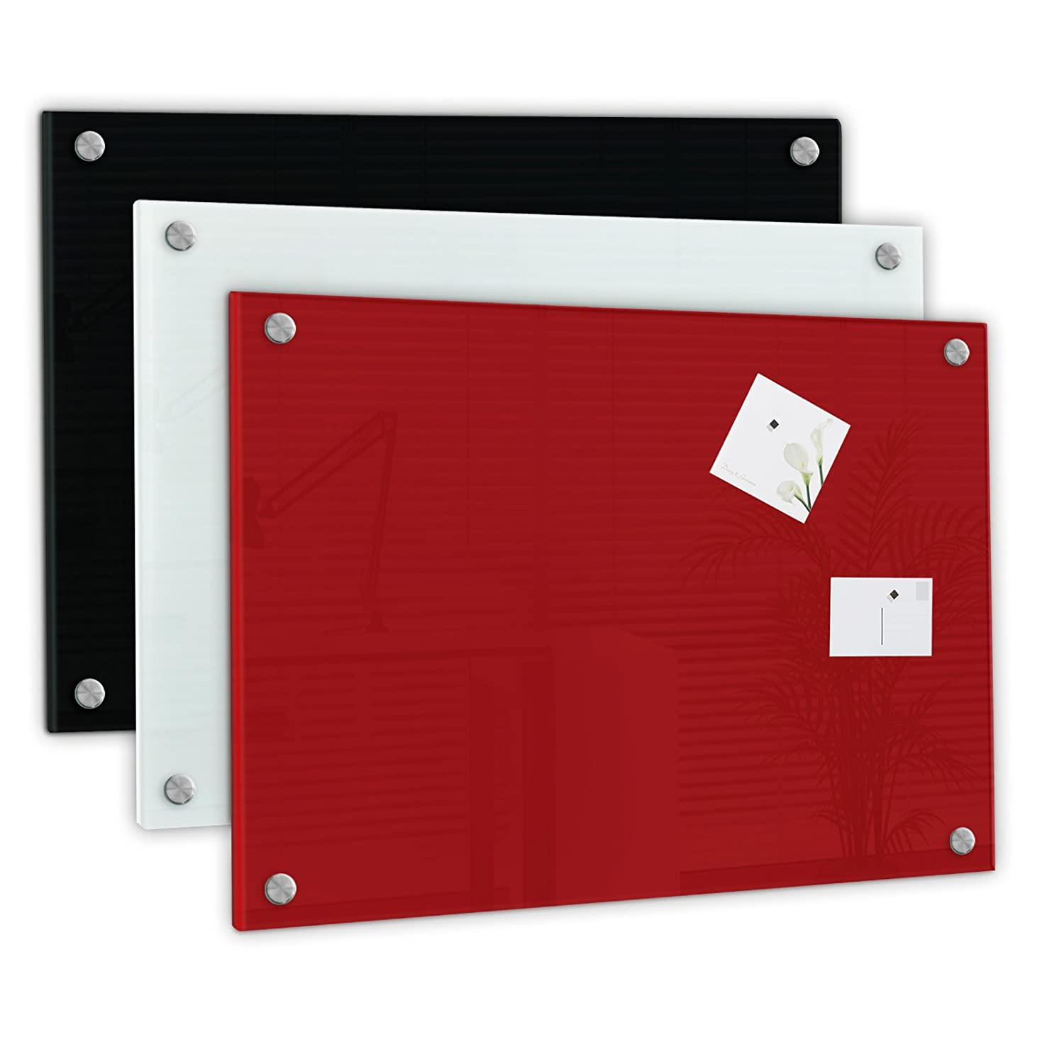 rot Magnete Stift 40x60cm //Farbe Glas Magnettafel Memoboard Pinwand incl