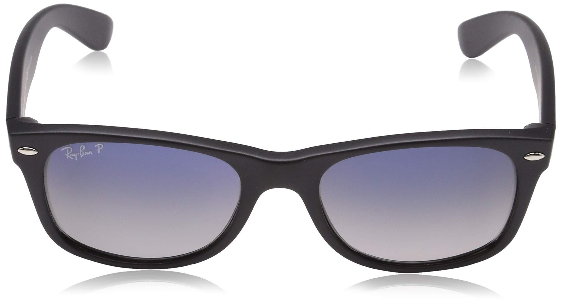 Ray-Ban Unisex New Wayfarer Polarized Sunglasses, Black/Polarized Blue/Grey Gradient, Blue Gradient Grey, 55mm by Ray-Ban (Image #2)