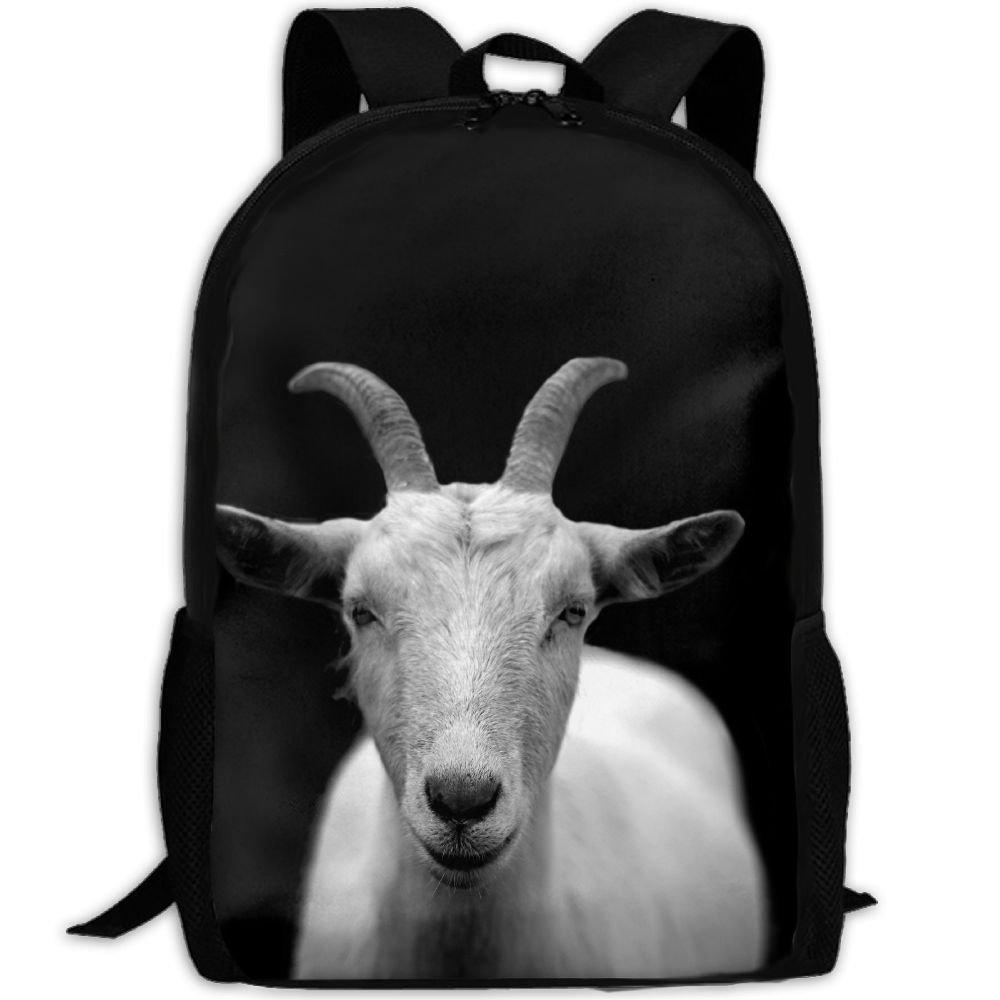 ヤギ動物Horns一意のアウトドア肩バッグファブリックバックパック多目的デイパック大人用 B078W4CR28