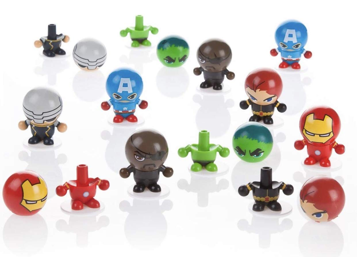 Tftp New 6 Marvel Avengers Plastic Surprise Eggs Bouncy Ball Heads Bon Bon buddies