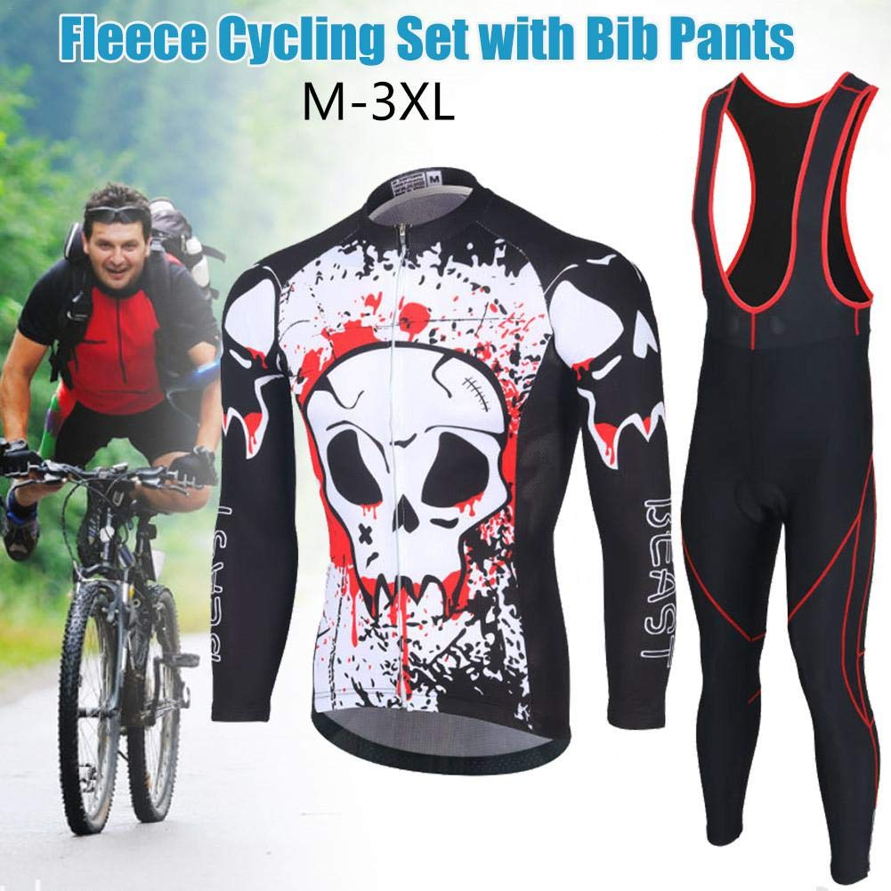 miniflower Mens Cycling Jersey Suit Biking Jersey Long Sleeve Bicycle Shirt Tights Winter 3D Padded Pants Winter Riding Gear Breathable Quick Dry