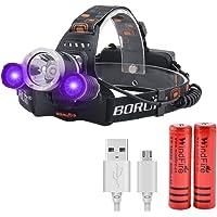 Linterna Frontal LED USB Recargable, Luz Frontal con Luz Ultravioleta, 395nm UV Luz Negra Linternas Frontales para…