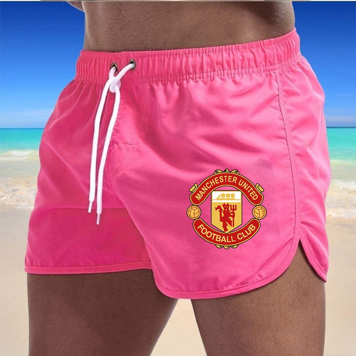 ZZE6RT Manchester United Mens Swim Trunks Quick Dry Beach Shorts for Home Shorts with Pockets