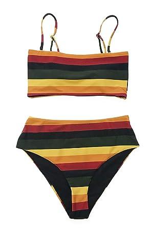 b251db4395a19 CUPSHE Women's Stripe Reversible Bandeau Top High Waisted Bikini X-Small